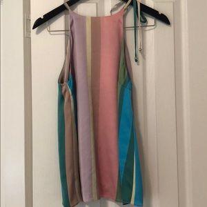Zara Candy Stripe Open Back Swing Tank NWT